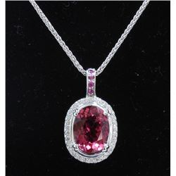 4.43ct Spinel 14K White Gold Necklace and Pendant