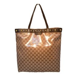 Gucci Coated Monogram Canvas Studded Shopping Bag Tote