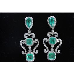 8.05CT COLOMBIAN EMERALD 18K White Gold EARRING