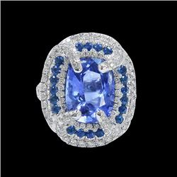 GIA 8.77CT NATURAL BLUE CEYLON SAPPHIRE (COLOR CHANGE NO HEAT) 18K W/G RING