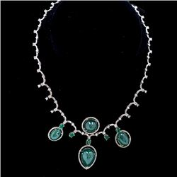 51ct Emerald 14K White Gold Necklace