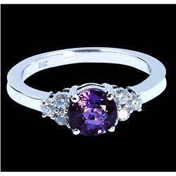 1.40CT NATURAL CEYLON PINK SAPPHIRE 14K WHITE GOLD RING