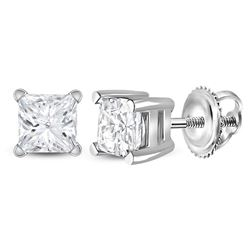 0.78 CTW Princess Diamond Solitaire Stud Earrings 14KT White Gold - REF-97F4N