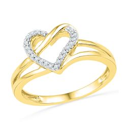 0.06 CTW Diamond Heart Outline Ring 10KT Yellow Gold - REF-12K2W