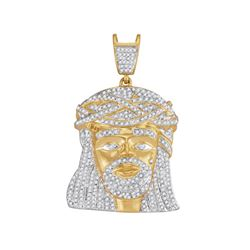 1.25 CTW Mens Diamond Jesus Christ Messiah Charm Pendant 10KT Yellow Gold - REF-89K9W