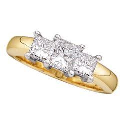 0.26 CTW Princess Diamond 3-stone Bridal Engagement Ring 14KT Yellow Gold - REF-31W4K