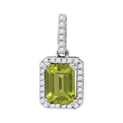 1.13 CTW Emerald Peridot Solitaire Diamond Rectangle Pendant 14KT White Gold - REF-34M4H