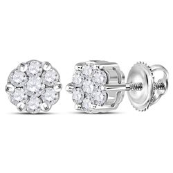0.25 CTW Diamond Flower Cluster Earrings 14KT White Gold - REF-24M2H