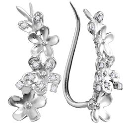 0.10 CTW Diamond Floral Earrings 10KT White Gold - REF-12F2N