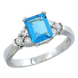 Natural 1.48 ctw swiss-blue-topaz & Diamond Engagement Ring 10K White Gold - REF-43N3G