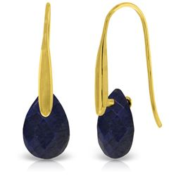 Genuine 8 ctw Sapphire Earrings Jewelry 14KT Yellow Gold - REF-47T4A