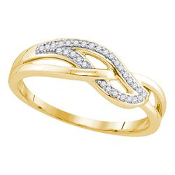 0.09 CTW Diamond Woven Strand Ring 10KT Yellow Gold - REF-14W9K
