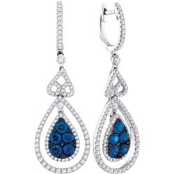 1.61 CTW Blue Sapphire Teardrop Diamond Dangle Earrings 14KT White Gold - REF-254F9N