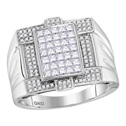 1.4 CTW Mens Princess Diamond Square Cluster Ring 14KT White Gold - REF-179M9H