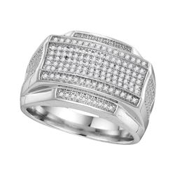 0.40 CTW Mens Pave-set Diamond Rectangle Cluster Ring 10KT White Gold - REF-59Y9X