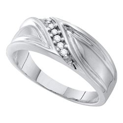 0.09 CTW Mens Diamond Wedding Ring 10KT White Gold - REF-24X2Y