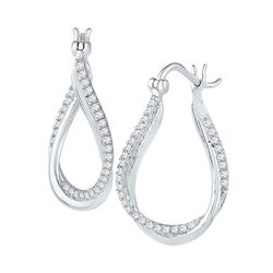 0.50 CTW Diamond Oval Hoop Earrings 10KT White Gold - REF-52K4W
