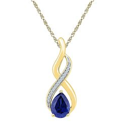 1.8 CTW Pear Created Blue Sapphire Solitaire Diamond Pendant 10KT Yellow Gold - REF-14Y9X