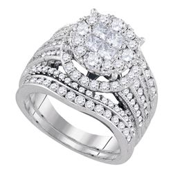 2.52 CTW Princess Diamond Soleil Bridal Engagement Ring 14KT White Gold - REF-299W9K