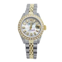 Rolex Pre-owned 26mm Womens Custom White Mother of Pearl Two Tone - REF-550X3K