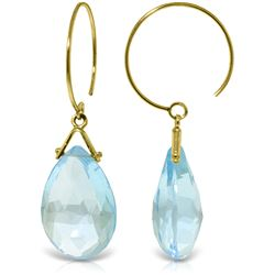 Genuine 10.20 ctw Blue Topaz Earrings Jewelry 14KT Yellow Gold - REF-23K5V