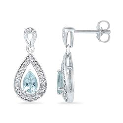 0.60 CTW Diamond & Created Aquamarine Teardrop Earrings 10KT White Gold - REF-25K4W