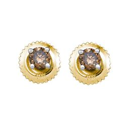 0.50 CTW Cognac-brown Color Diamond Solitaire Stud Earrings 10KT Yellow Gold - REF-22K4W