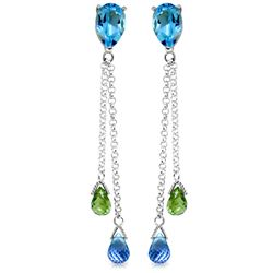 Genuine 7.5 ctw Blue Topaz & Peridot Earrings Jewelry 14KT White Gold - REF-39W3Y