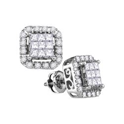 1 CTW Princess Diamond Square Cluster Stud Earrings 14KT White Gold - REF-101M9H