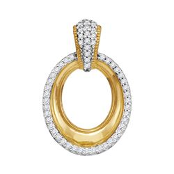 0.15 CTW Diamond Outline Oval Pendant 10KT Yellow Gold - REF-18M2H