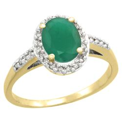 Natural 1.6 ctw Emerald & Diamond Engagement Ring 14K Yellow Gold - REF-43M5H