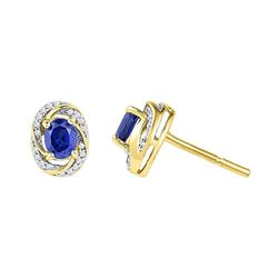 0.12 CTW Oval Created Blue Sapphire Diamond Stud Earrings 10KT Yellow Gold - REF-18H2M