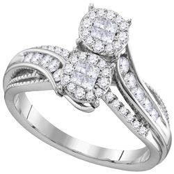 0.50 CTW Princess Diamond Soleil Bypass Bridal Engagement Ring 14KT White Gold - REF-67W4K