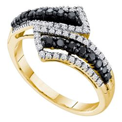 0.50 CTW Black Color Diamond Bypass Ring 14KT Yellow Gold - REF-32H9M