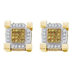 0.53 CTW Mens Yellow Color Diamond 3D Cube Stud Earrings 10KT Yellow Gold - REF-37M5H