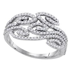 0.50 CTW Diamond Curled Strand Ring 10KT White Gold - REF-34Y4X