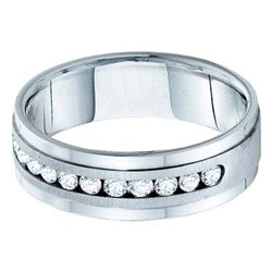 1 CTW Mens Diamond Wedding Ring 14KT White Gold - REF-187Y4X