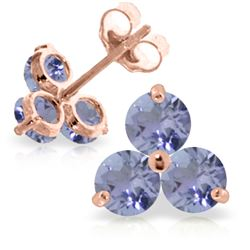 Genuine 1.50 ctw Tanzanite Earrings Jewelry 14KT Rose Gold - REF-25P4H