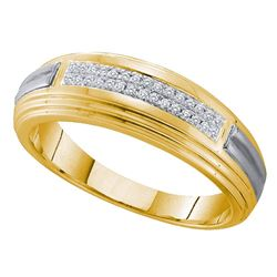 0.10 CTW Mens Diamond Double Row Wedding Ring 10KT Yellow Two-tone Gold - REF-26W9K