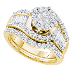 1.25 CTW Princess Diamond Bridal Engagement Ring 14KT Yellow Gold - REF-142M4H