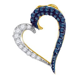 0.25 CTW Blue Color Diamond Heart Love Pendant 10KT Yellow Gold - REF-13K4W