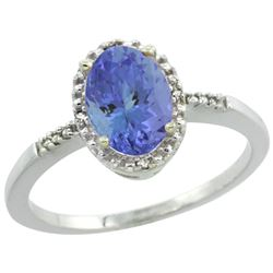 Natural 1.33 ctw Tanzanite & Diamond Engagement Ring 14K White Gold - REF-45V8F