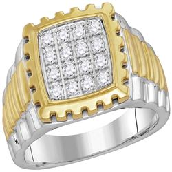 0.49 CTW Mens Diamond Notched Square Cluster Ring 10KT Two-tone Gold - REF-59Y9X
