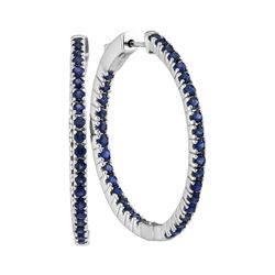 2.75 CTW Blue Sapphire Hoop Earrings 14KT White Gold - REF-97H4M