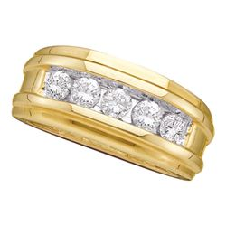 0.50 CTW Mens Diamond Ridged Wedding Ring 14KT Yellow Gold - REF-82W4K