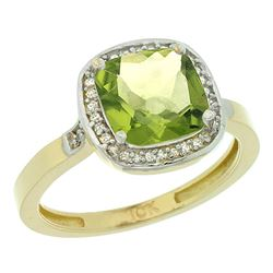 Natural 3.94 ctw Peridot & Diamond Engagement Ring 10K Yellow Gold - REF-30V9F