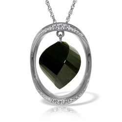 Genuine 15.6 ctw Black Spinel & Diamond Necklace Jewelry 14KT White Gold - REF-107H8X