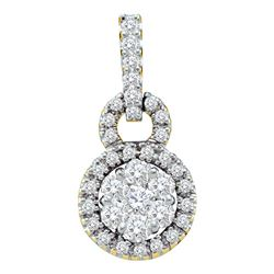 0.51 CTW Diamond Circle Flower Cluster Pendant 14KT Yellow Gold - REF-44M9H