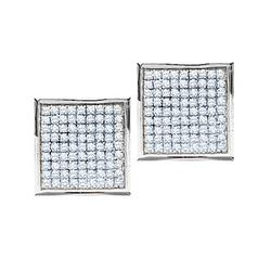 0.90 CTW Pave-set Diamond Square Cluster Earrings 14KT White Gold - REF-49N5F