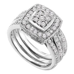 1 CTW Diamond Cluster 3-Piece Bridal Engagement Ring 14KT White Gold - REF-127Y4X